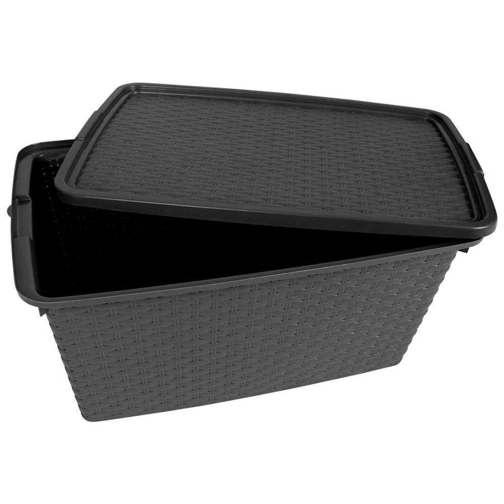 Aufbewahrungsbox 40 L Rattanoptik Dekobox Aufbewahrungskiste Allzweckbox Kiste – Bild 3