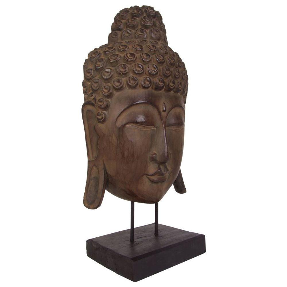 Buddha Maske 65cm auf Holzsockel Statue Dekofigur Skulptur Holzmaske Feng Shui  – Bild 3