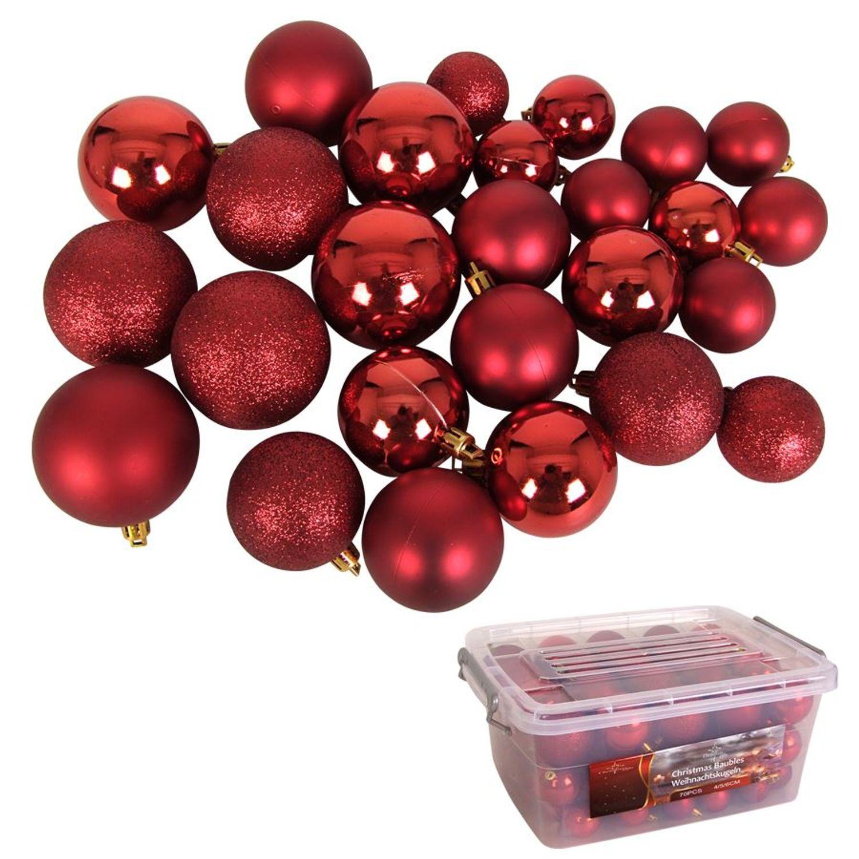 Weihnachtsbaumkugeln Rot 70 Stuck In Aufbewahrungsbox