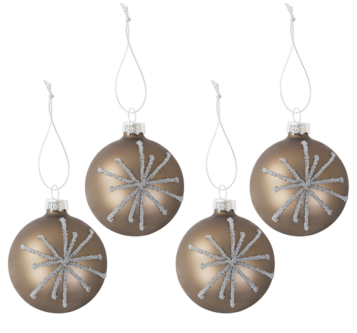 4er set glas christbaumkugeln perla 6cm weihnachtsbaumkugeln tannenbaumschmuck m bel wohnen. Black Bedroom Furniture Sets. Home Design Ideas