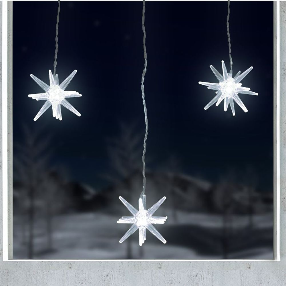 LED-Polar-Sterne 3 Stück Leuchtstern Fensterdeko Adventstern Weihnachtstern Deko – Bild 4