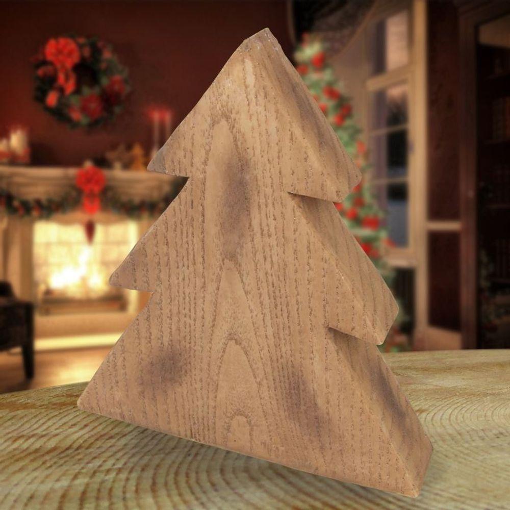 Deko-Tanne in Holzoptik 19cm Winterdeko Weihnachtstanne Tannenbaum Landhaus Baum – Bild 1