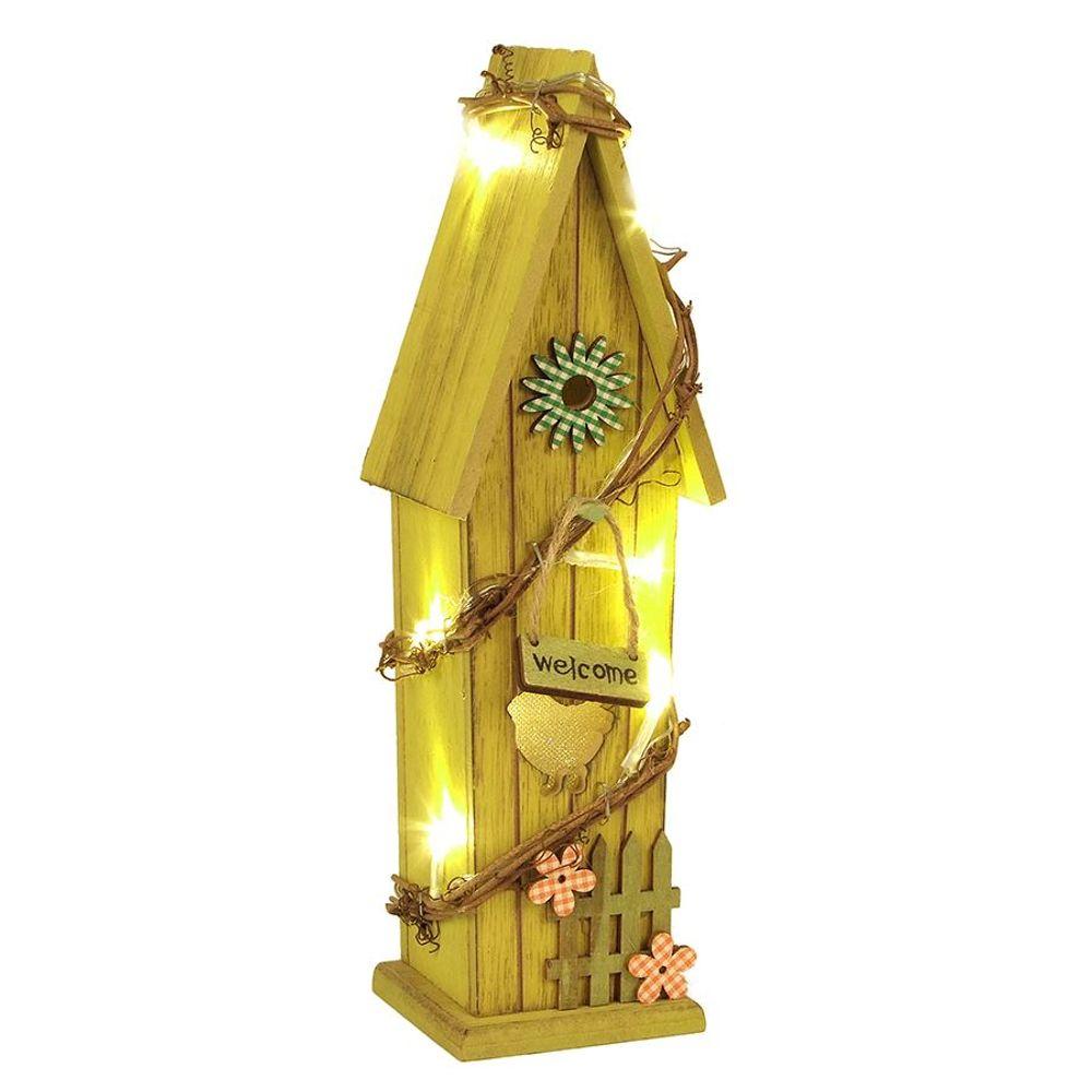 LED-Deko-Vogelhaus 30cm Vogelhäuschen Nistkasten Brutkasten Holzdeko Leuchtdeko  – Bild 1