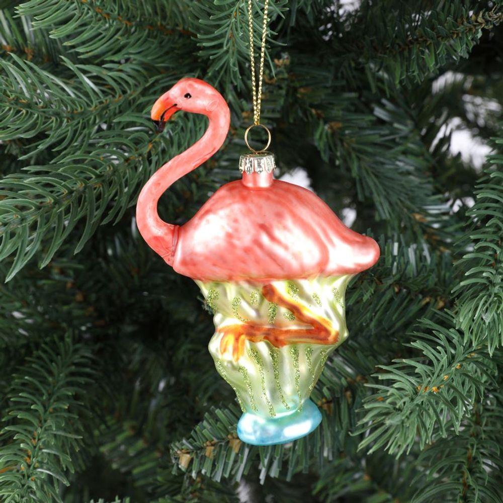 Glas-Weihnachtsbaum-Anhänger Flamingo 12,5cm Christbaumschmuck Weihnachtsdeko  – Bild 1