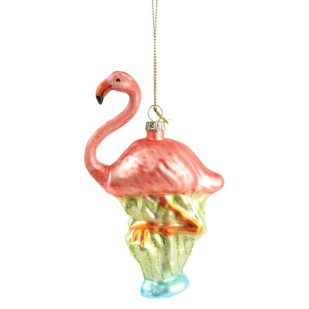 Glas-Weihnachtsbaum-Anhänger Flamingo 12,5cm Christbaumschmuck Weihnachtsdeko  – Bild 2