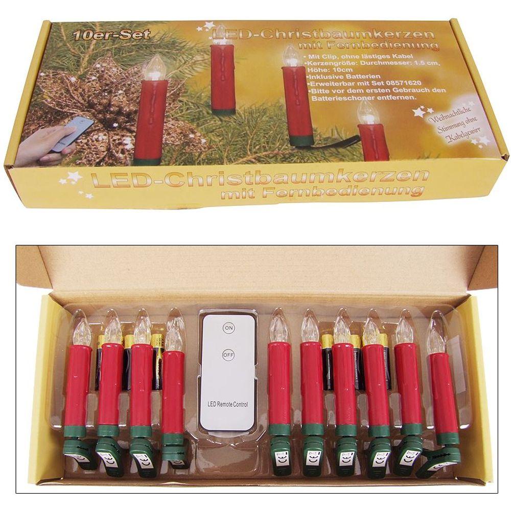 10er LED Christbaumkerzen kabellos Weihnachtskerzen Weihnachtsbaum Lichterkette – Bild 7