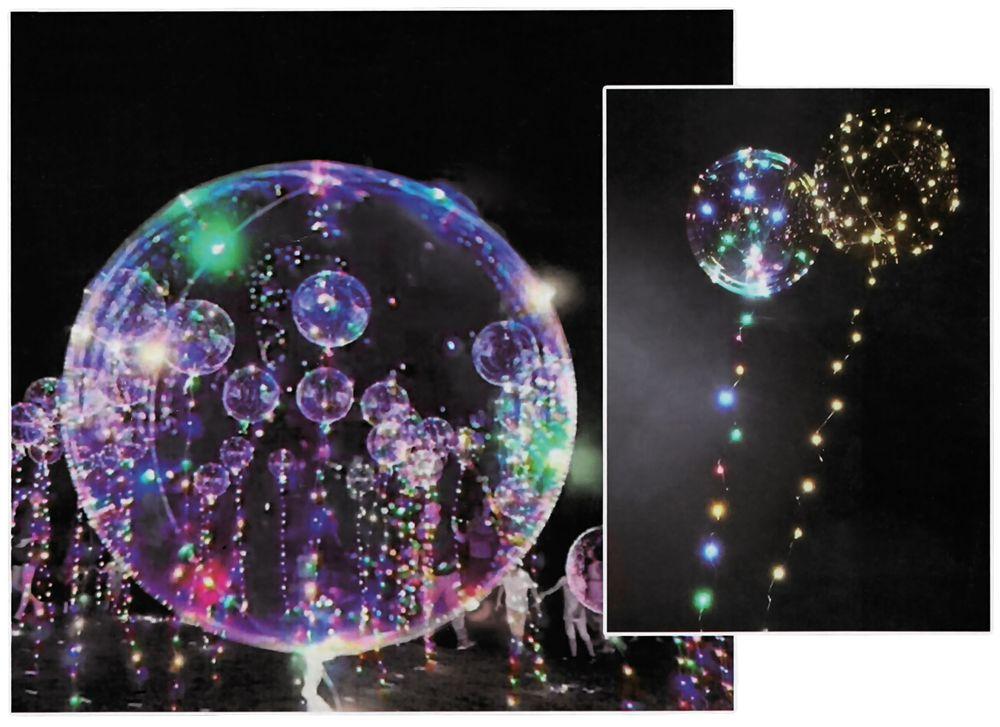 3x LED Heliumballon Luftballon Lichterkette bunt Partydeko Hochzeit Strandparty – Bild 1