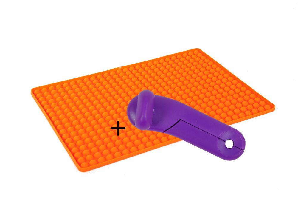 Silikon Dauerbackmatte mit Noppen + GRATIS Dosenöffner Backunterlage Untersetzer – Bild 1