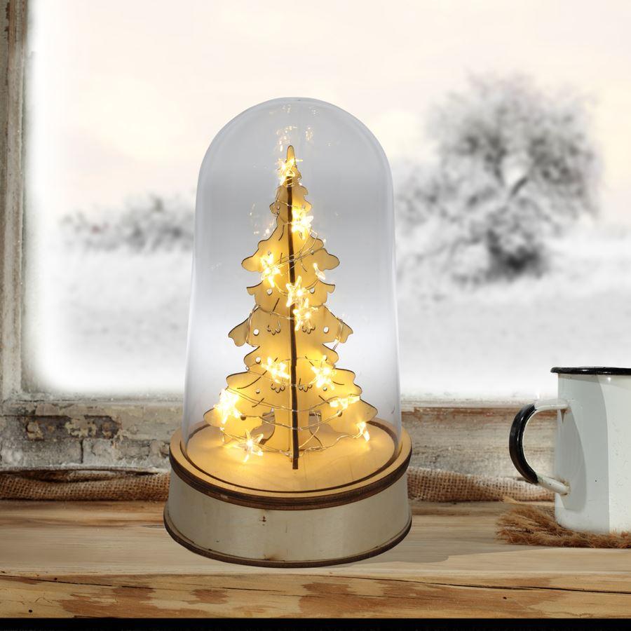 Glasglocke Mit Beleuchtetem Weihnachtsbaum Glashaube