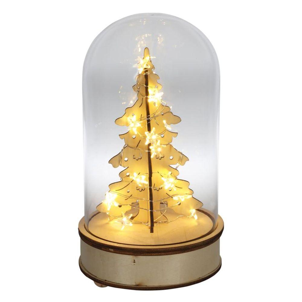 Glasglocke mit beleuchtetem Weihnachtsbaum Glashaube Tischdeko Weihnachtsdeko  – Bild 3