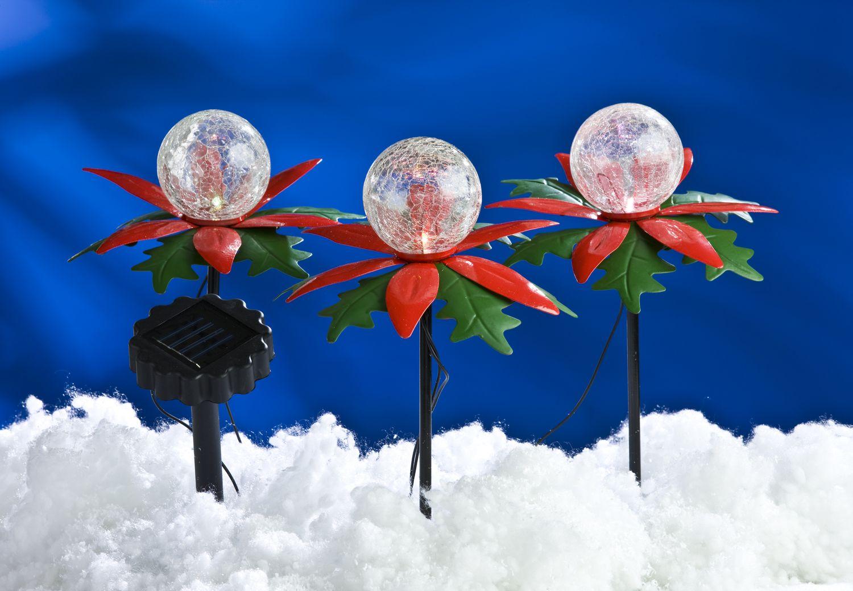Led solar weihnachtsterne 3er mit farbwechsel for Gartendeko solar