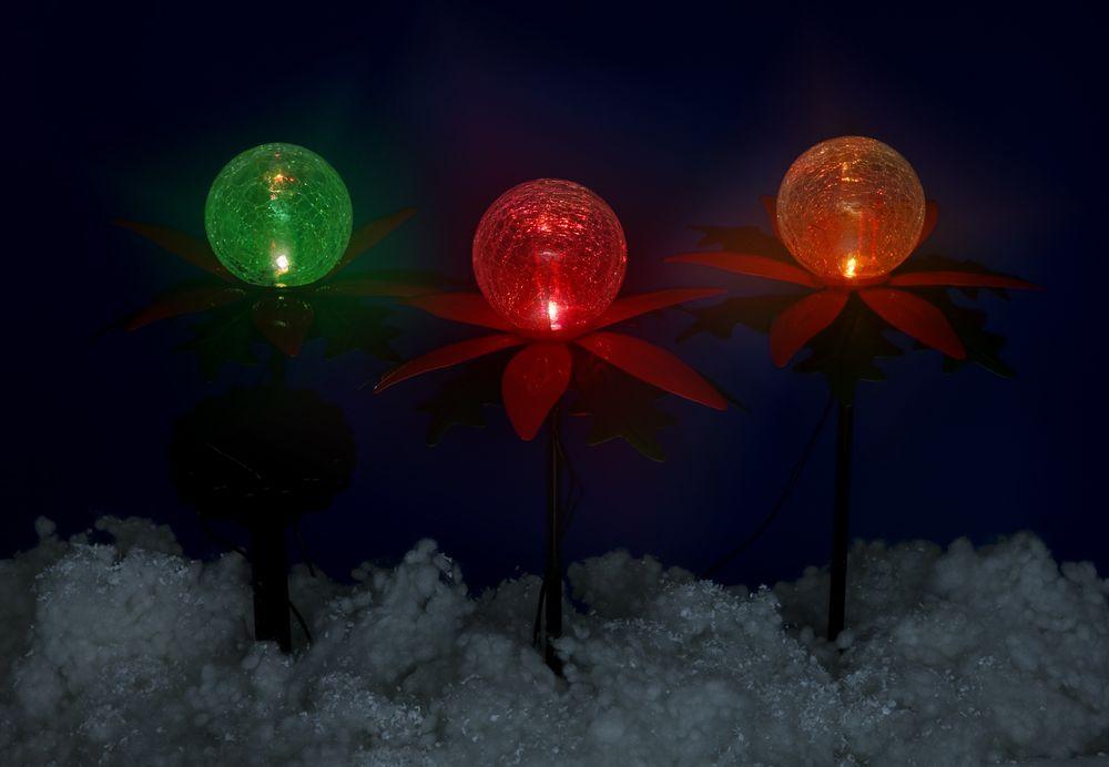 LED Solar-Weihnachtsterne 3er mit Farbwechsel Weihnachtsdeko Gartendeko Balkon – Bild 3