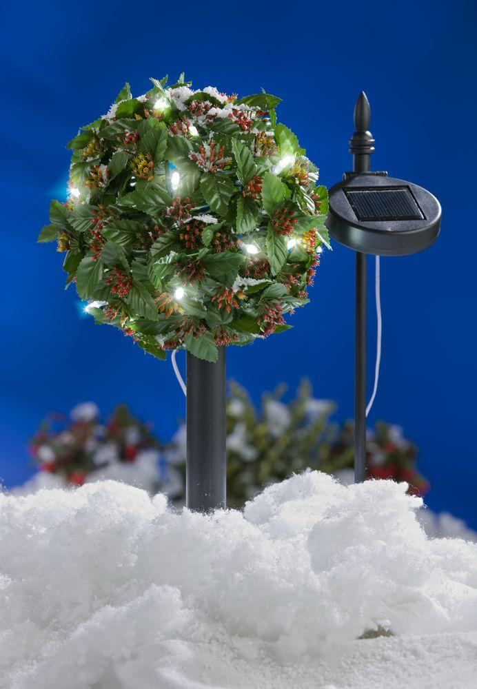LED Solar-Bäumchen Ilex Stechpalme Gartenbeleuchtung Weihnachtsdeko Kunstpflanze – Bild 1