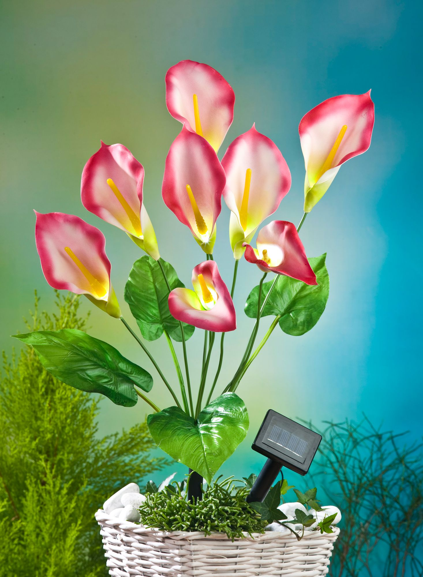 led solar kunstblume calla rot 63cm lilie kunstpflanze. Black Bedroom Furniture Sets. Home Design Ideas