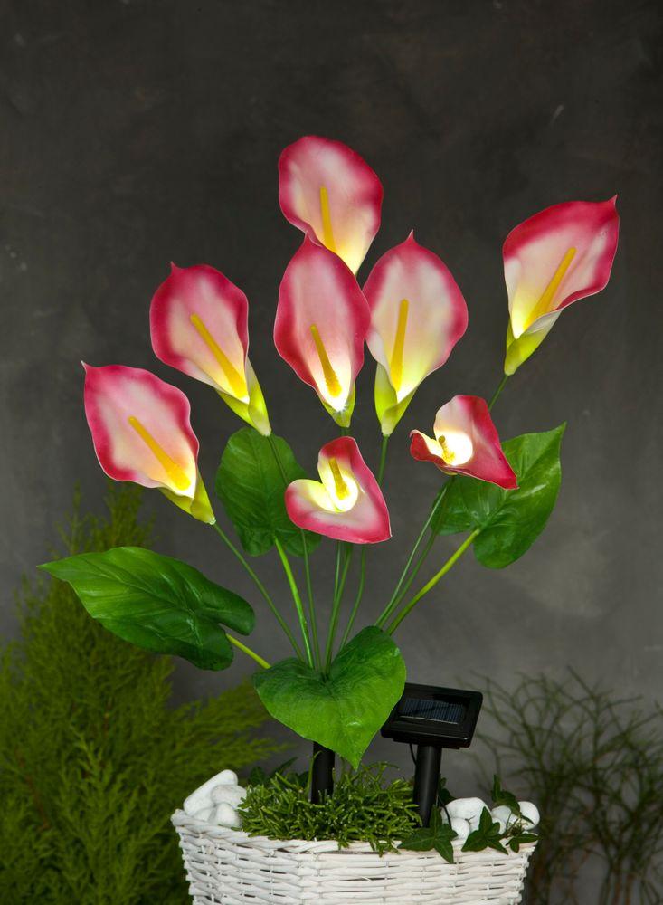 LED Solar-Kunstblume Calla rot 63cm Lilie Kunstpflanze Terrassendeko Balkondeko – Bild 2