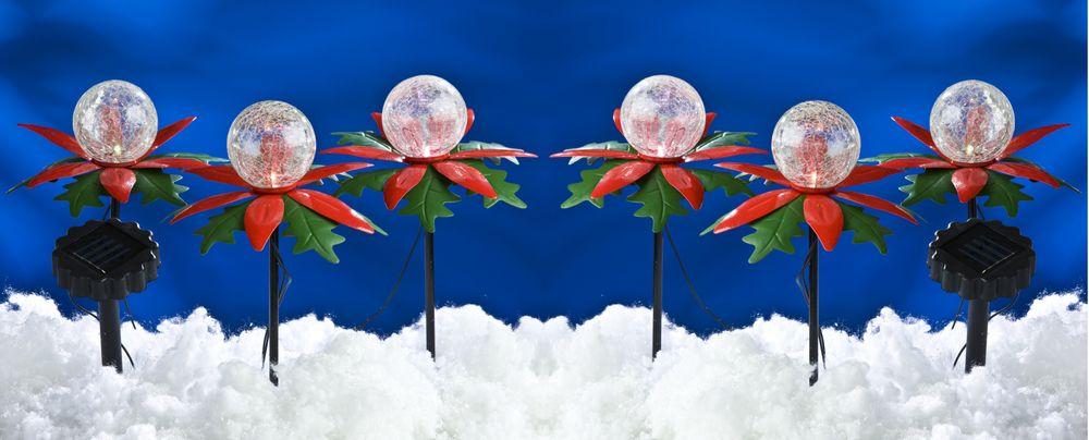 LED Solar-Weihnachtsterne 2x3er mit Farbwechsel Weihnachtsdeko Gartendeko Balkon – Bild 1