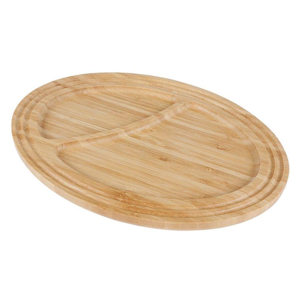Bambus Servierplatte Frühstücksteller Servierteller Serviertablett Holzbrett  – Bild 1