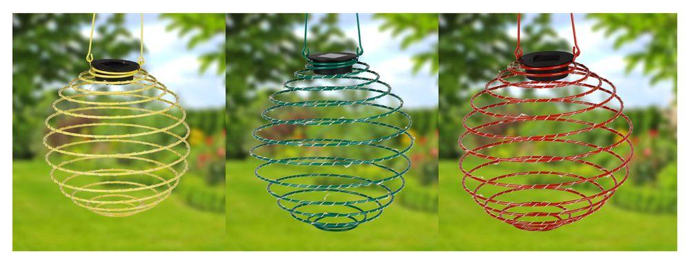 LED Solar-Spirallaterne 22cm Lampion Spirale Solarlampe Hängelaterne Gartendeko – Bild 1
