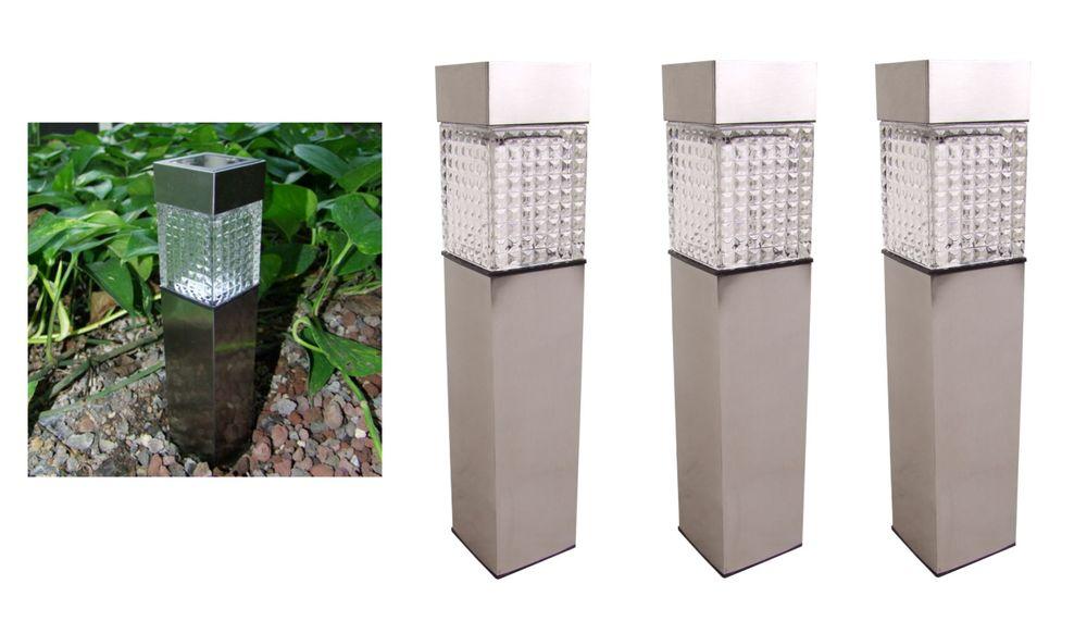 3x Solar Gartenwegeleuchte 27,7cm LED Gartenlampe Solarleuchte Außenleuchte Deko – Bild 1