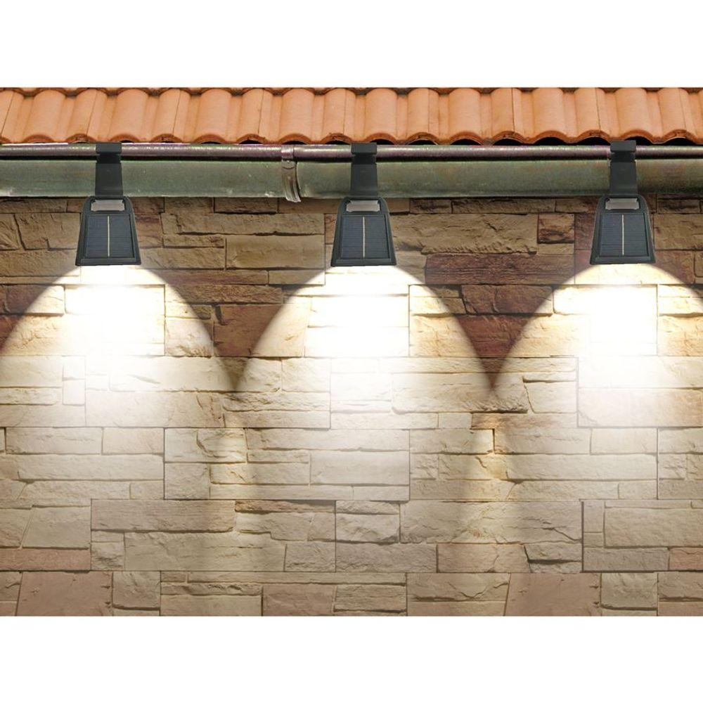 3er-Set Solar Dachrinnenleuchten Solarlampen Zaunleuchte Aussenlampe Gartenlicht – Bild 2