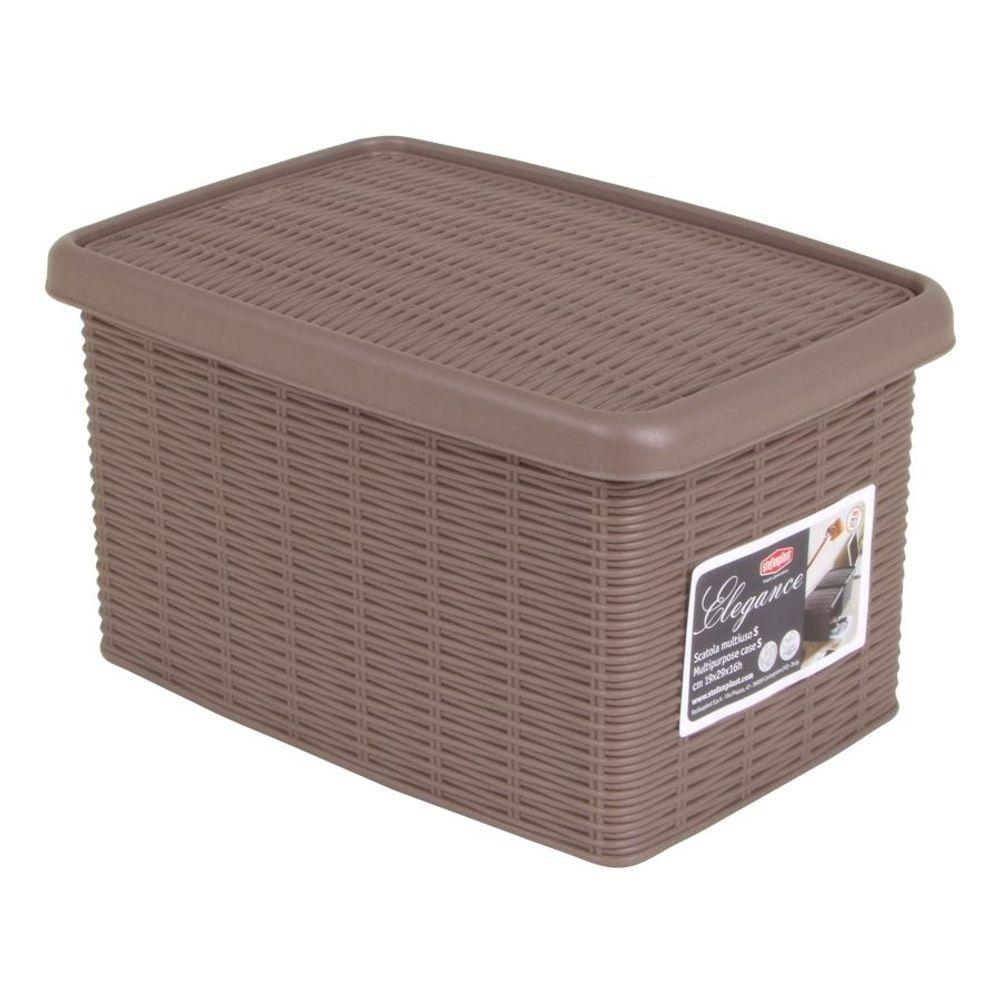 Box Elegance taupe Rattanoptik Aufbewahrungsbox Allzweckbox Ordnungsbox Regalbox – Bild 1