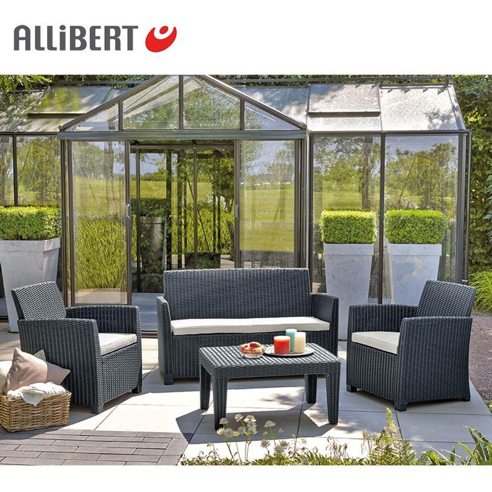 Allibert Lounge Sitzgruppe Merida Graphit Gartenmöbel Gartenset Terrassenmöbel – Bild 2