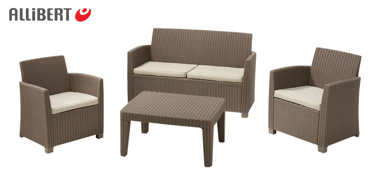 allibert lounge sitzgruppe merida cappuccino gartenm bel m belset terrassenm bel garten m bel. Black Bedroom Furniture Sets. Home Design Ideas