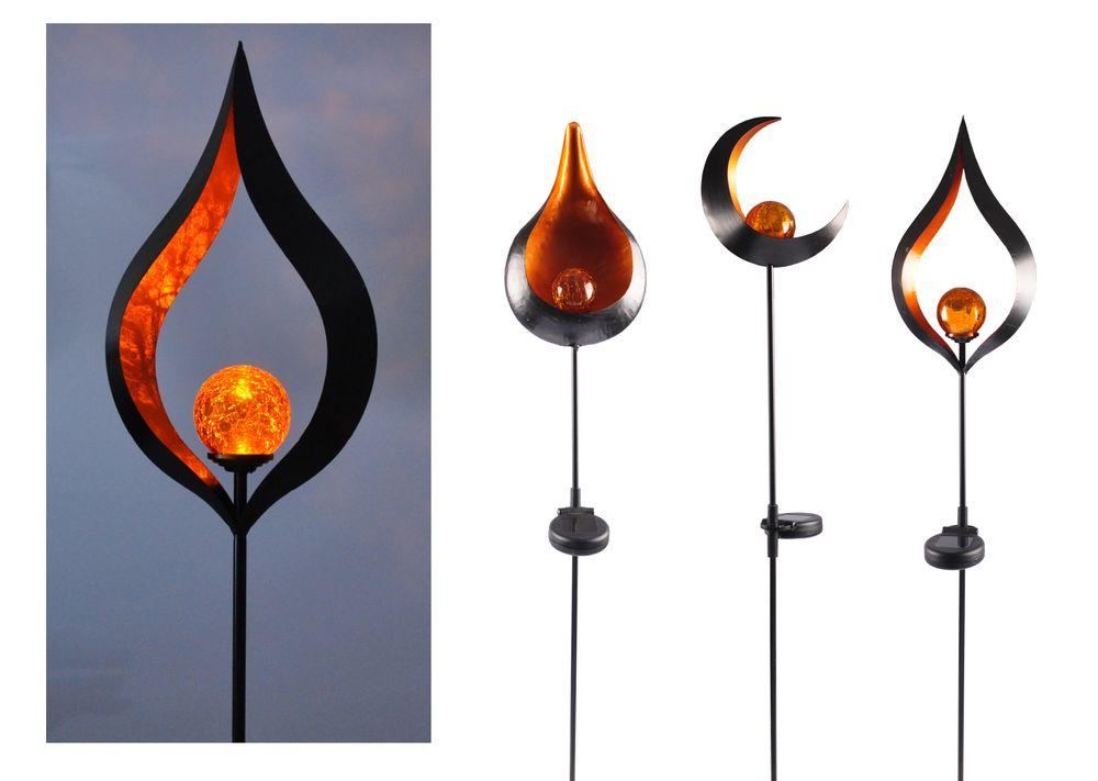 Solar Metall-Gartenstecker 95cm LED Glaskugel Gartendeko Mond Tropfen Flamme  – Bild 1