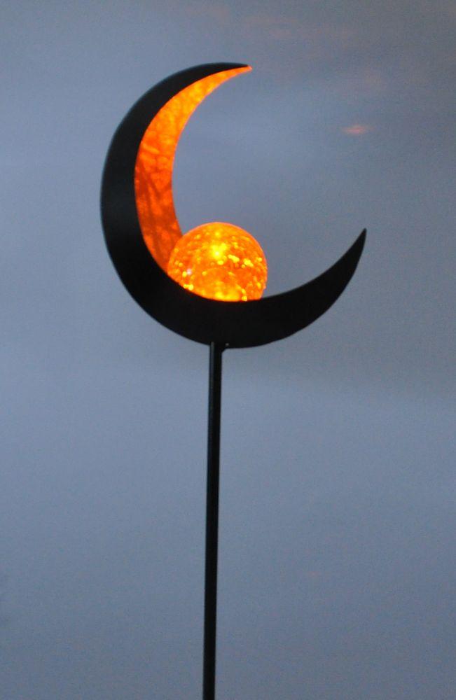 Solar Metall-Gartenstecker 95cm LED Glaskugel Gartendeko Mond Tropfen Flamme  – Bild 5