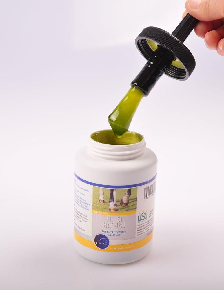 Chevaline Hufvital-Huföl 500 ml Flasche mit integriertem Pinsel Hufpflege Fett – Bild 2