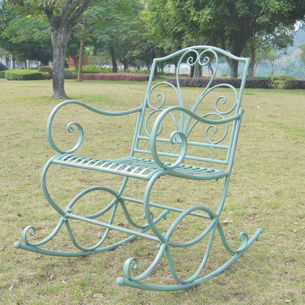 Metall Schaukelstuhl Antik-Grün Gartenstuhl Gartenmöbel Schwingsessel Relaxliege – Bild 3