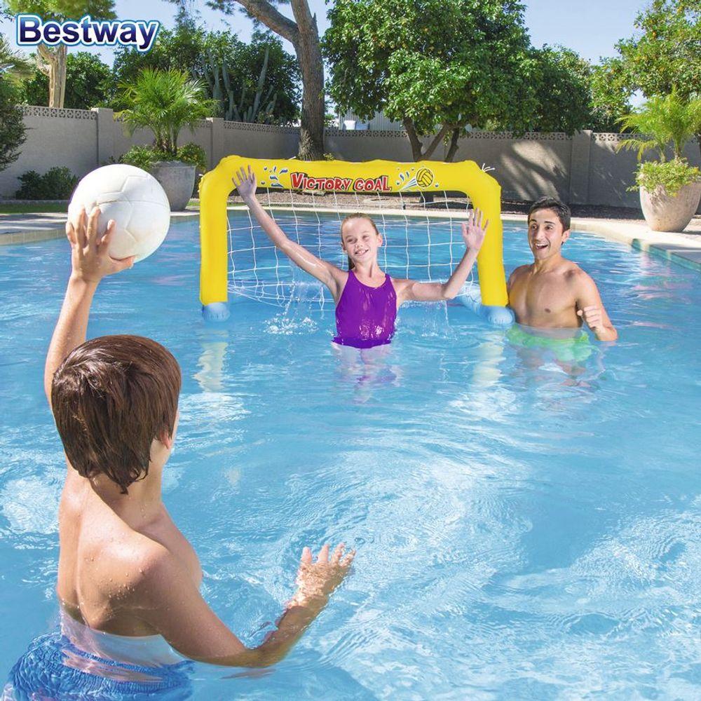 Aufblasbares Wasserballtor Fußballtor Ball Tor Pool Spiel Wasserspiel Wasserball – Bild 2