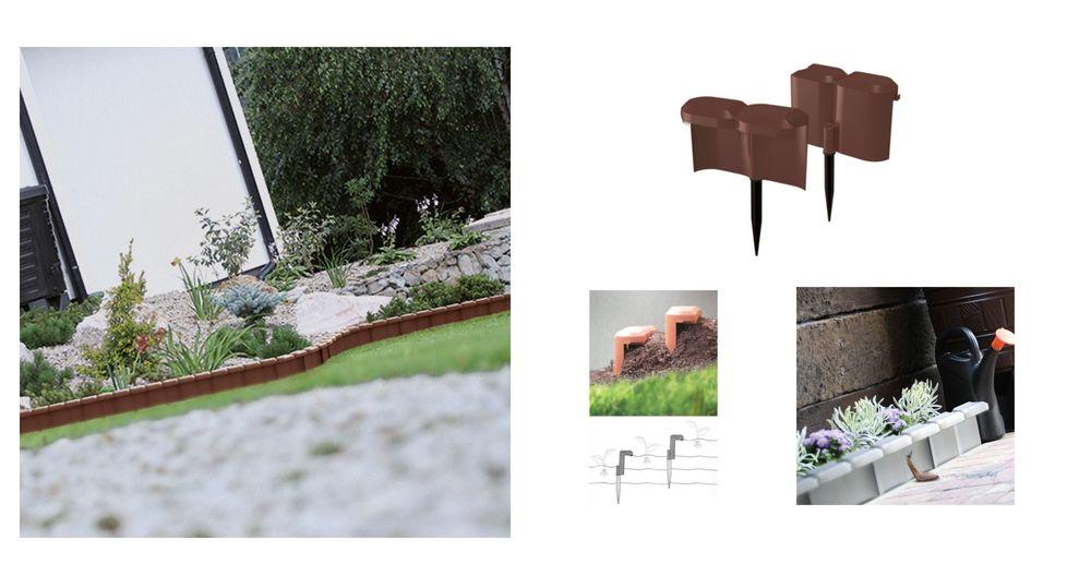 Beetumrandung Schneckenzaun braun 1,9m Palisade Beeteinfassung Rasenkante Zaun – Bild 1