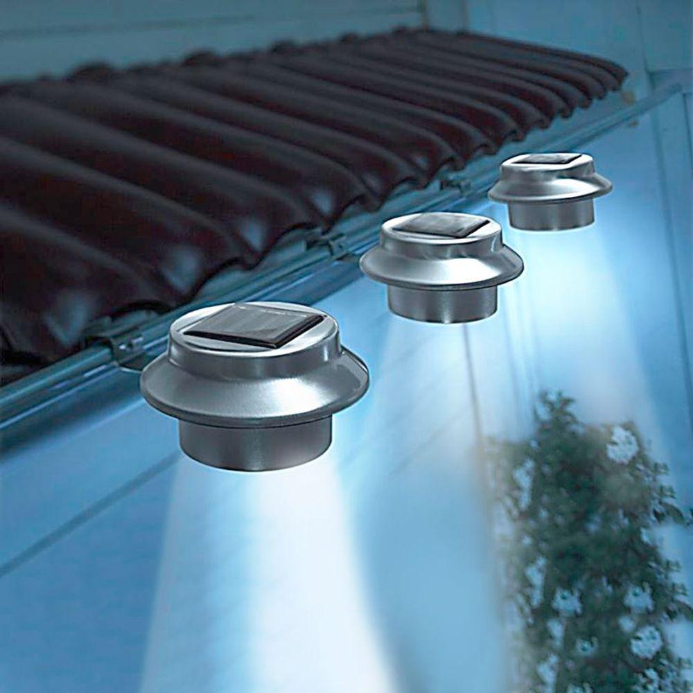 LED Dachrinnenleuchten 3er-Set aus Edelstahl Zaunleuchte Wegelicht Solarleuchten – Bild 1