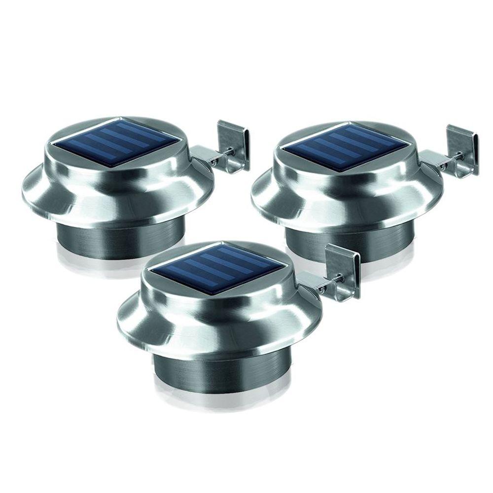 LED Dachrinnenleuchten 3er-Set aus Edelstahl Zaunleuchte Wegelicht Solarleuchten – Bild 2