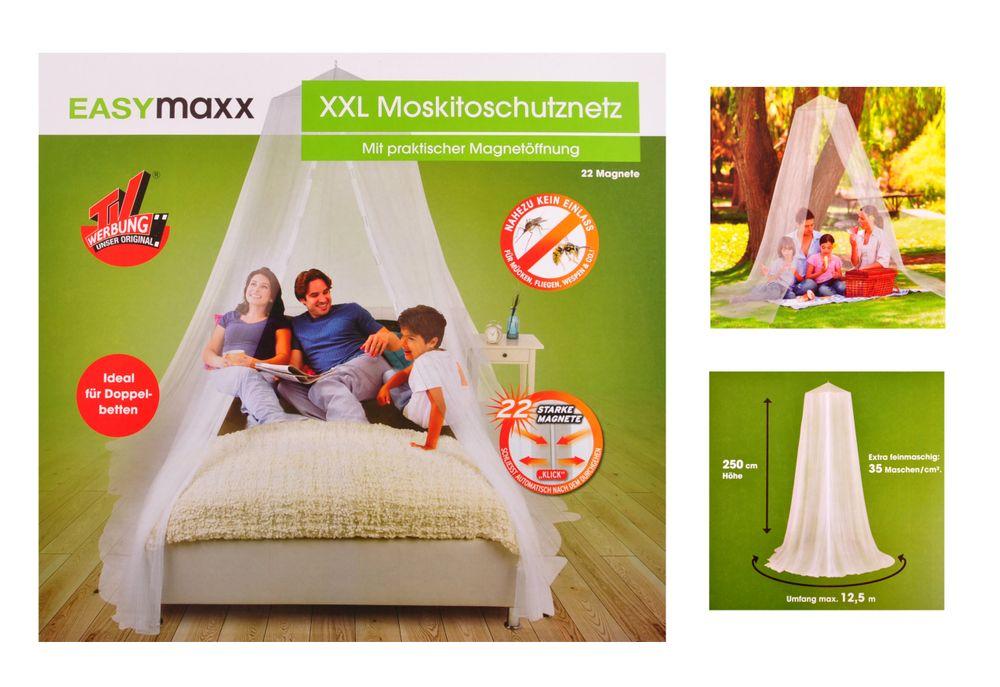 XXL Moskitonetz mit Magnetöffnung Fliegengitter Mückennetz Betthimmel Doppelbett