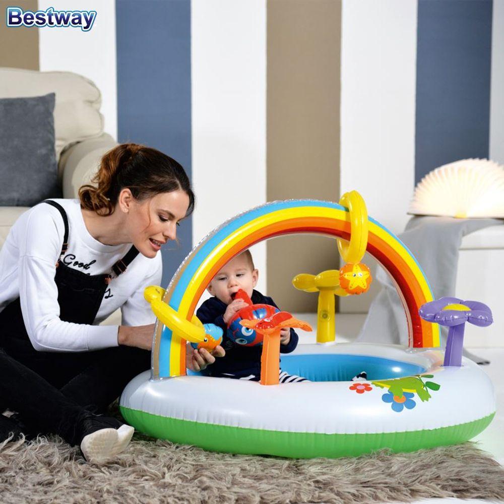Spielcenter Rainbow Planschbecken Kinderpool Spielbogen Spieltrainer Babypool – Bild 2