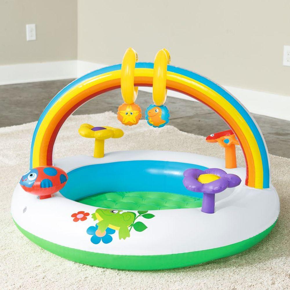 Spielcenter Rainbow Planschbecken Kinderpool Spielbogen Spieltrainer Babypool – Bild 5