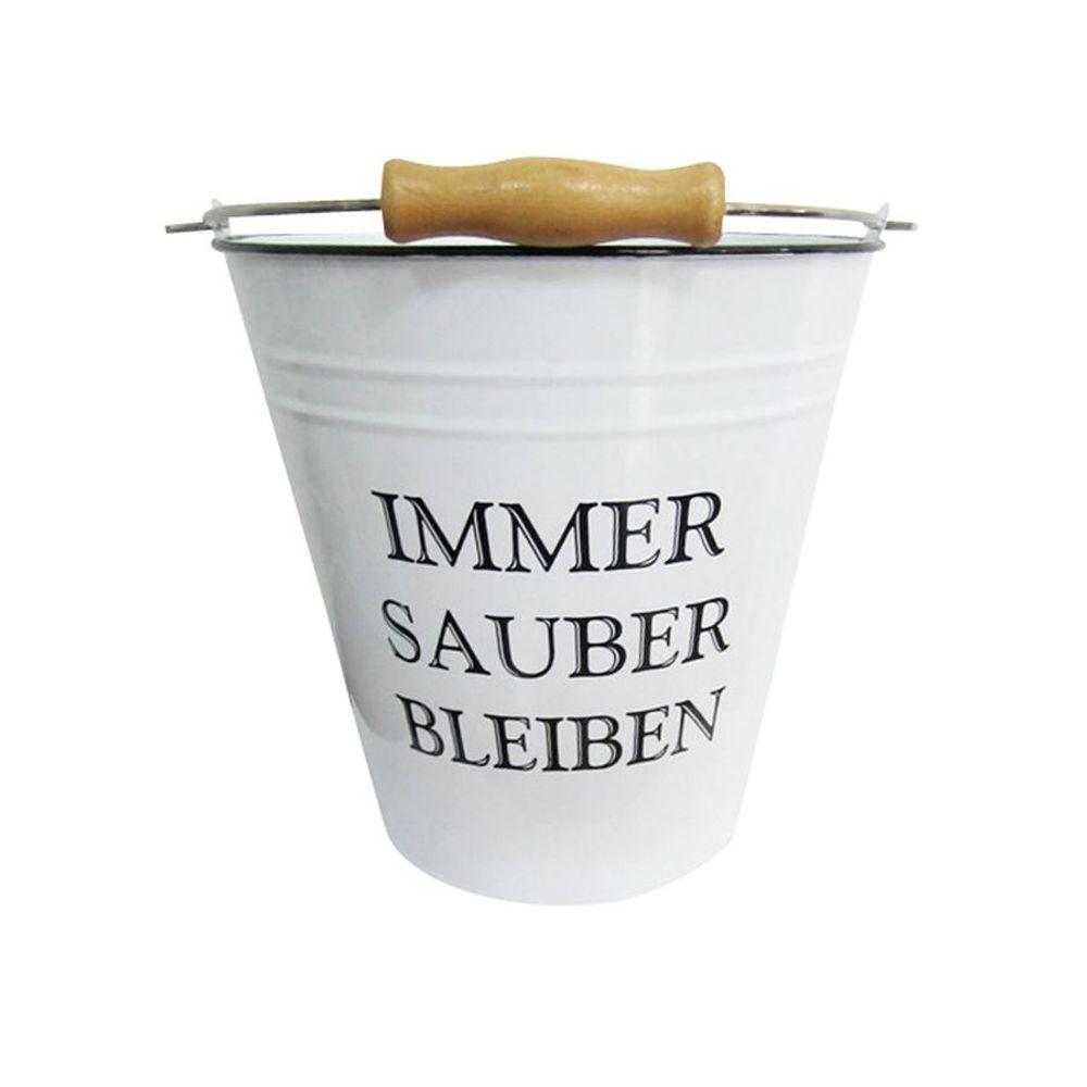Deko Eimer 7L weiß Putzeimer Wassereimer Metalleimer Blecheimer Vintage Retro – Bild 2