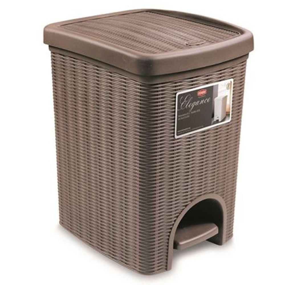 Abfalleimer taupe 20L Rattanoptik Mülleimer Abfallsammler Müllsammler Papierkorb