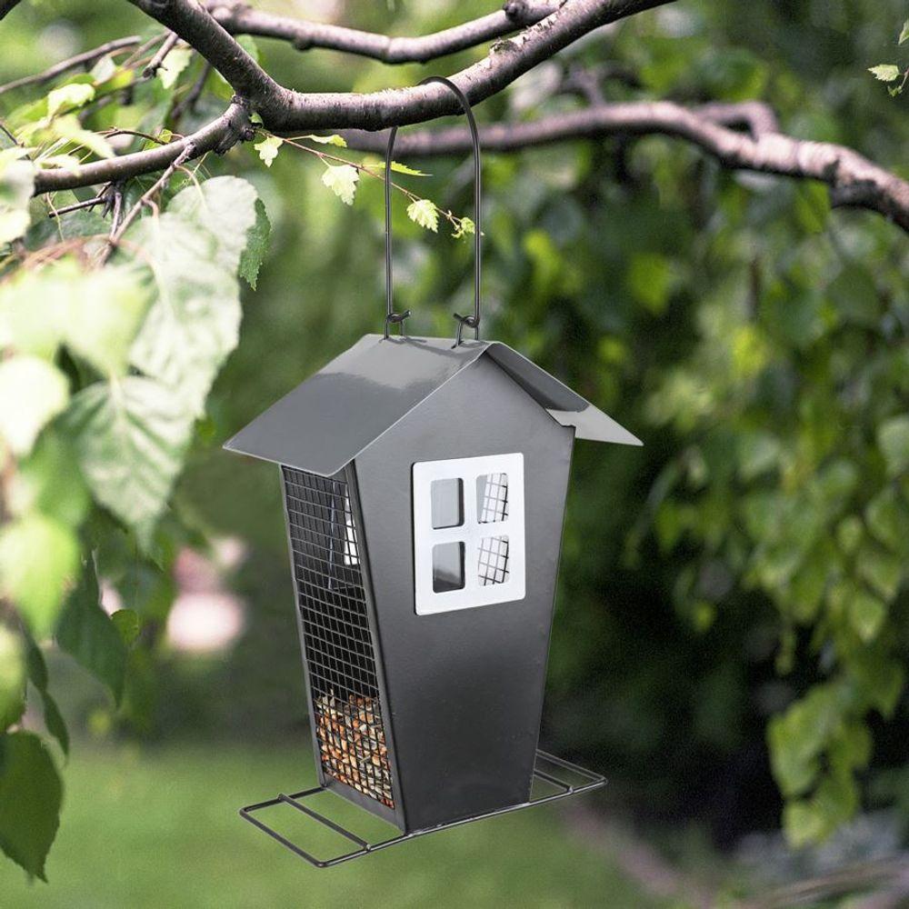 Metall Vogelfutterhaus Vogelfutterspender Futterstation Futterspender Futterhaus – Bild 1