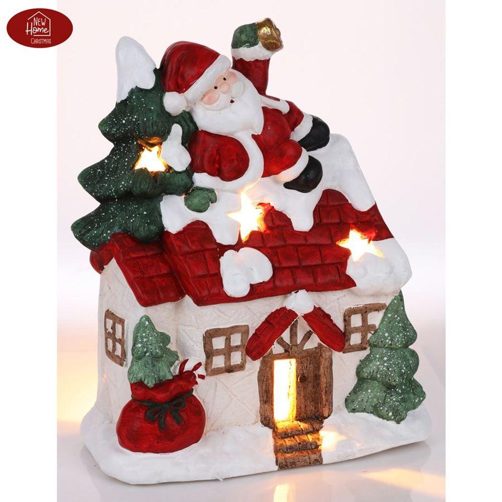 Weihnachtshaus mit Weihnachtsmann und Tannenbaum 36cm Teelichthalter Gartendeko – Bild 1