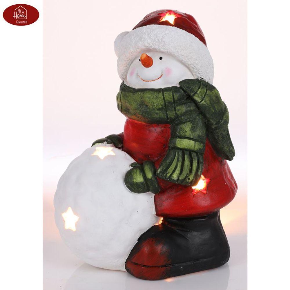 Schneemann 34,5cm Teelichthalter Weihnachtsdeko Winterdeko Gartendeko Dekofigur  – Bild 1