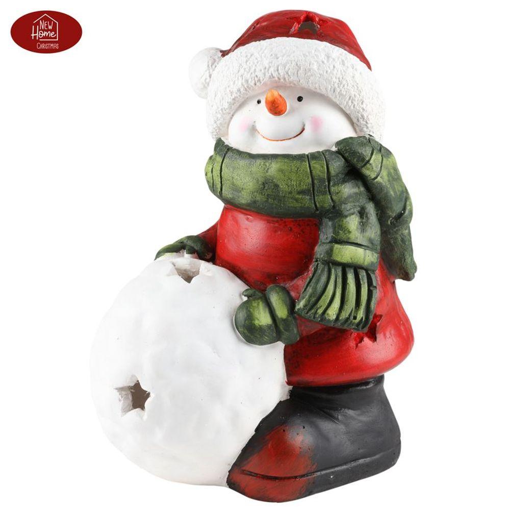 Schneemann 34,5cm Teelichthalter Weihnachtsdeko Winterdeko Gartendeko Dekofigur  – Bild 2
