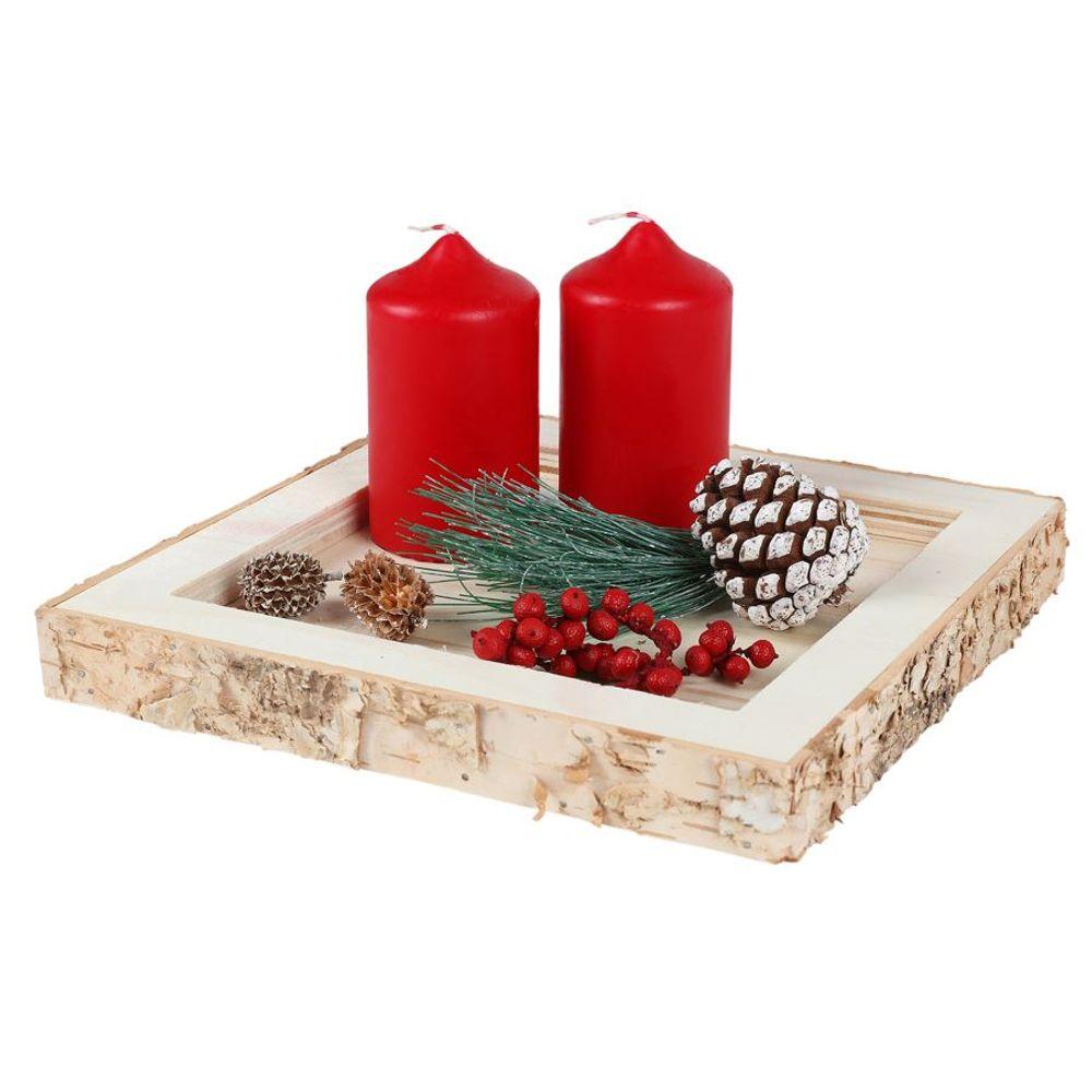 Dekotablett Holztablett Kerzenhalter Tischdeko Weihnachtsdeko Gesteckunterlage – Bild 1