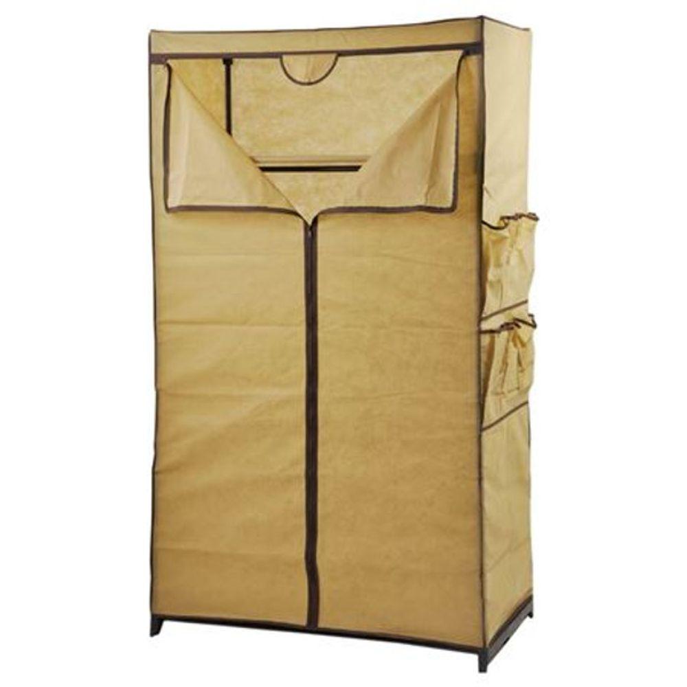 Textil Kleiderschrank beige Stoffschrank Faltschrank Campingschrank Garderobe