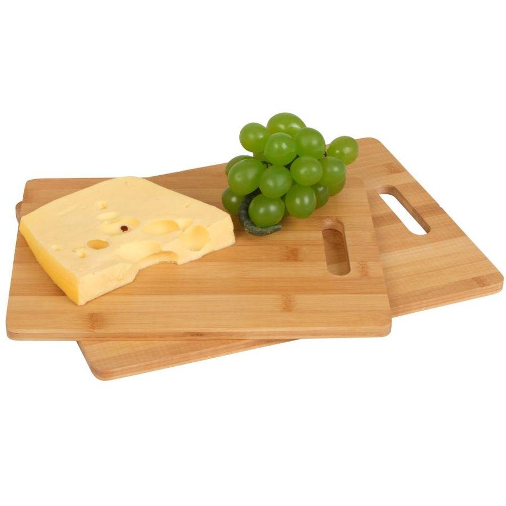Bambus Schneidebretter 2er-Set Küchenbrett Holzbrett Schneidbrett Servierbrett – Bild 1