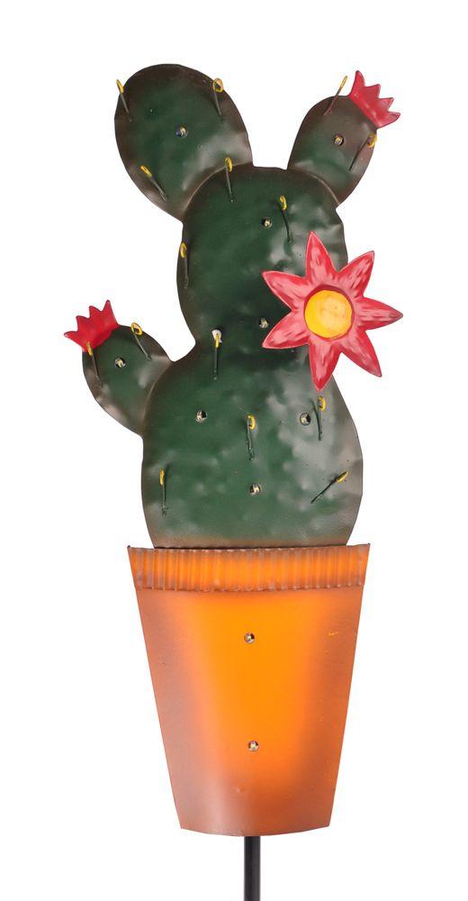 LED Deko Kaktus Gartenstecker Metallfigur Dekopflanze Kakteen Solar Gartendeko  – Bild 5