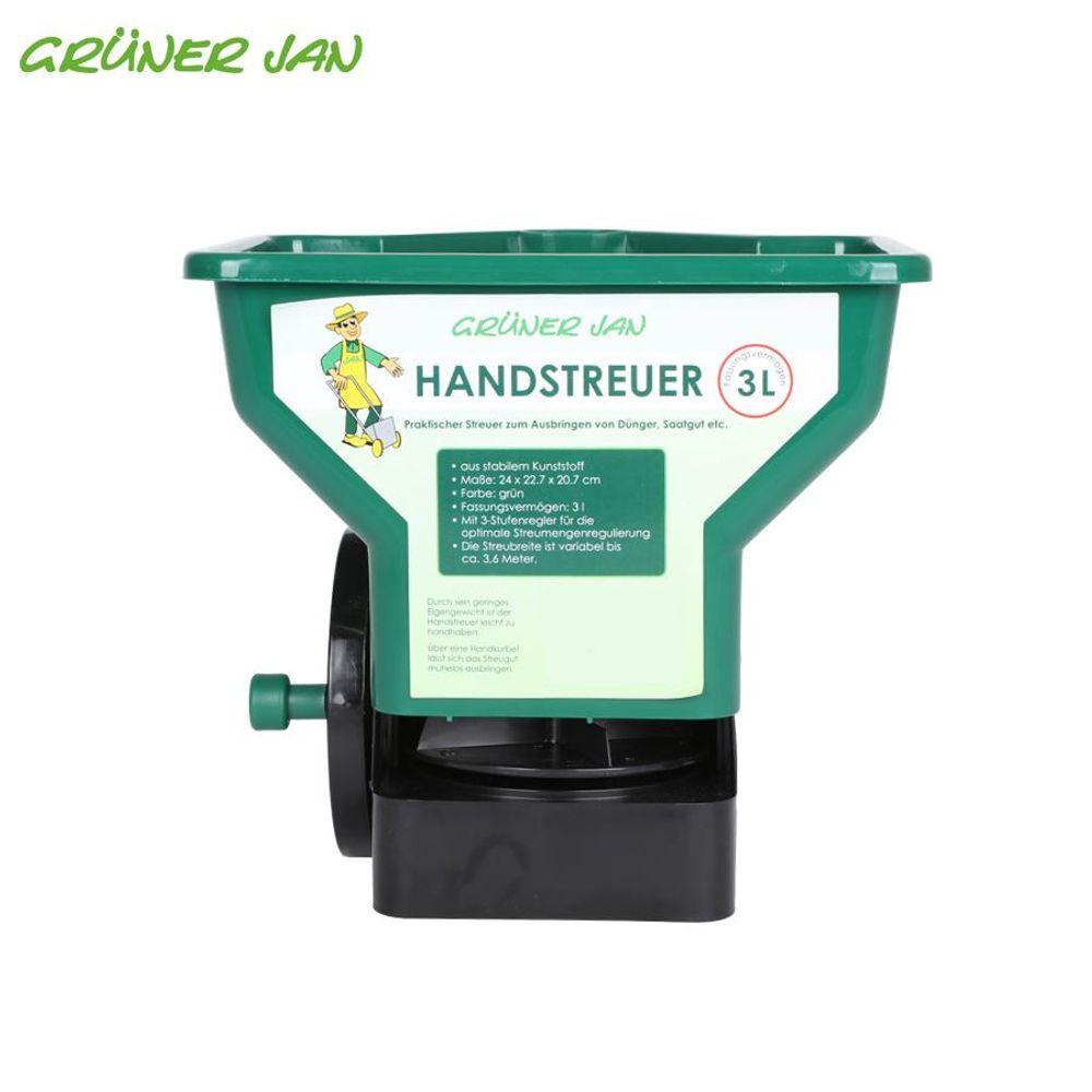 Handstreuer 3L für Saatgut Dünger Streusalz Rasen Salz Streuer Universalstreuer  – Bild 3
