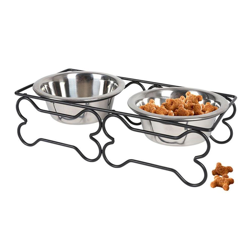 Edelstahl Doppelnapf 2x 300ml Fressnapf Wassernapf Futterstation Hundenapf Katze – Bild 1